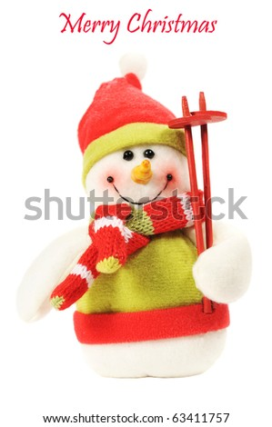 Stuffed little snowman isolated on white with the words merry christmas