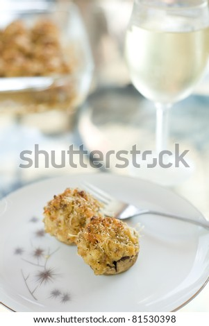 Stuffed Mushroom Appetizer with Wine Pairing - stock photo