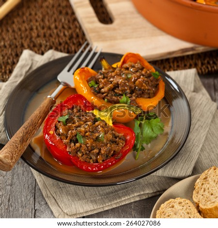 Stuffed Peppers. Selective focus. - stock photo
