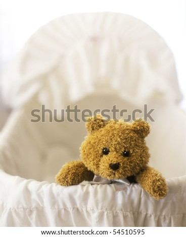 Stuffed Teddy bear in a Baby Bassinet - stock photo