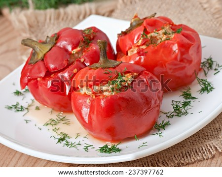 Stuffed with red pepper - stock photo