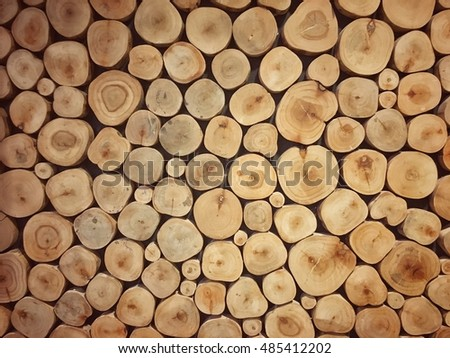 Stump of wooden pattern background with vintage tone for background usage