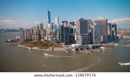 Stunning aerial view of Manhattan from Helicopter. - stock photo