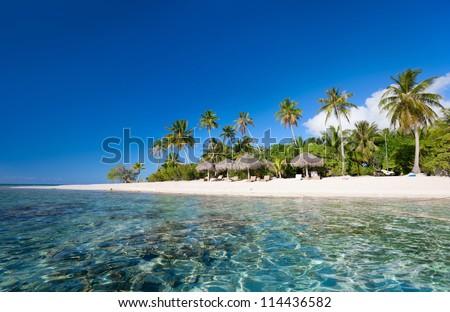 Stunning beach at Tikehau atoll in French Polynesia - stock photo