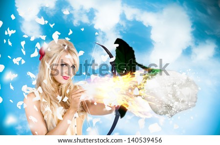 Stunning blond cupid girl shooting brilliant flame rose when aiming to light the spark of romance. Love is magical - stock photo