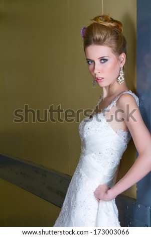 Stunning Bride Posing Against Wall In Long White Sequined Dress - stock photo