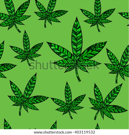 Stunning cannabis leaf in stained-glass style, seamless design High-resolution raster JPEG version.  - stock photo