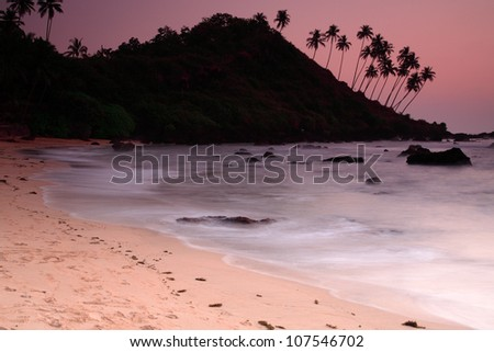 Stunning Cola beach sunset in Goa India - stock photo