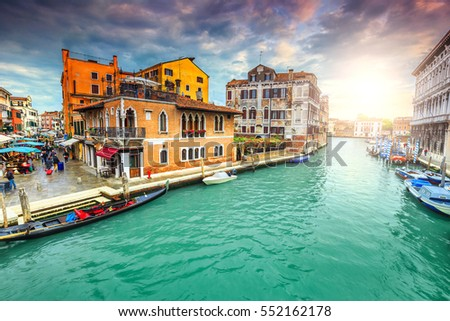 stock photo stunning colorful medieval buildings narrow canals with markets souvenir shops and gondolas in the 552162178 - Каталог — Фотообои «Венеция»