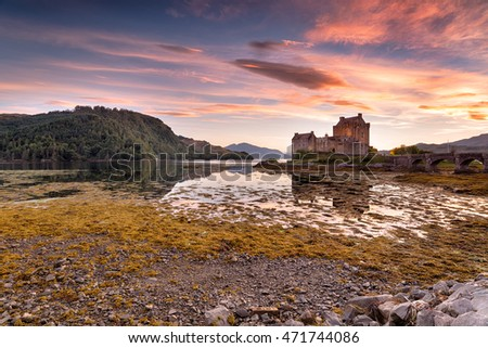 Stunning evening sky over Eilean Donan castle on the western coast of the Scottsih highlands