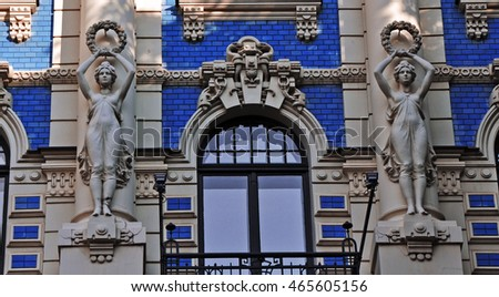 Stunning fragment of a building in Art Nouveau District in Riga, Latvia