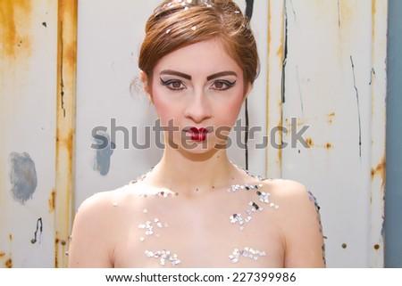 Stunning Girl and Doll Like Lips - stock photo