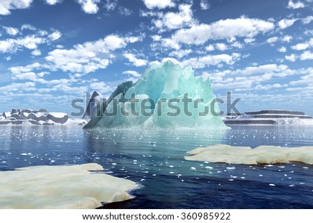 Stunning icebergs floating on the lake. 3D rendering of Iceberg. - stock photo