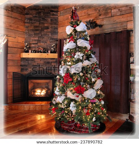 stunning instagram of cottage christmas tree and fireplace - stock photo