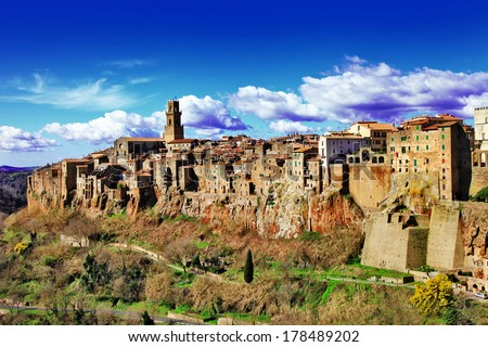 stunning Italy series - Pitigliano - small medieval town on rock - stock photo