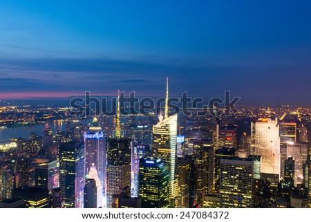 Stunning Manhattan skyline after sunset, NYC. - stock photo