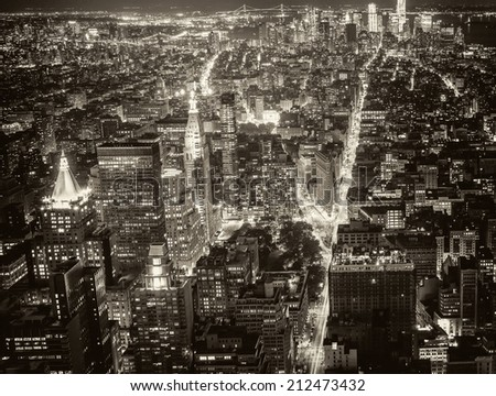 Stunning night view of Lower Manhattan skyline. - stock photo