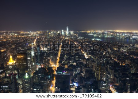 Stunning night view of Lower Manhattan skyline from the Empire State Building.