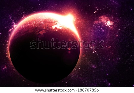 Stunning Planet at Sunrise - Elements of this Image Furnished By NASA - stock photo