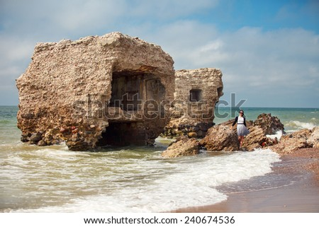 Stunning seascape with part of the old demolished forts in background in Liepaja, Latvia on the Baltic sea coast - stock photo