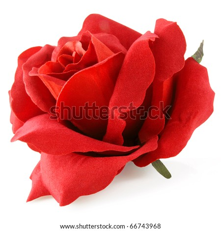 Stunning silk rose in red isolated on white - stock photo