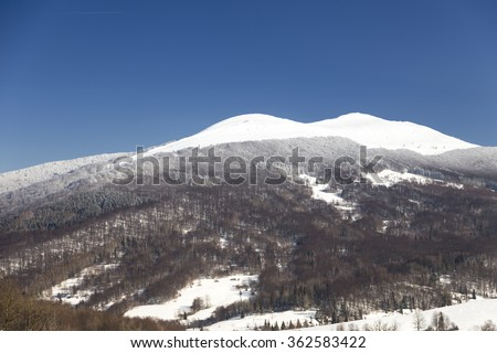 Stunning snowy winter in mountains forest, Bieszczady - stock photo