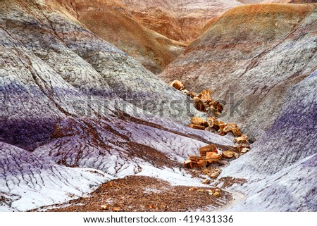 Stunning striped purple sandstone formations of Blue Mesa badlands in Petrified Forest National Park, Arizona, USA - stock photo