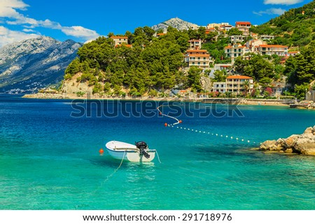 Stunning summer landscape with Adriatic Sea,Biokovo mountains and wonderful bay,Brela beach,Dalmatia,Croatia,Europe - stock photo