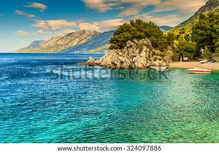 Stunning summer landscape with Adriatic Sea,Biokovo mountains and wonderful bay,Brela beach,Dalmatia,Croatia,Europe