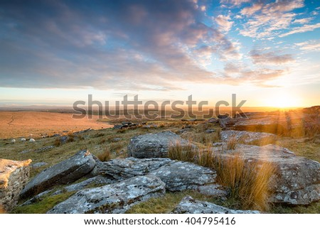 Stunning sunset over Bodmin Moor from Alex Tor near St Breward in Cornwall