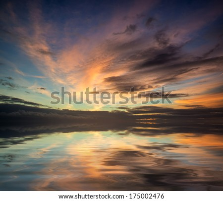 Stunning vibrant blue and pink Winter sky  - stock photo