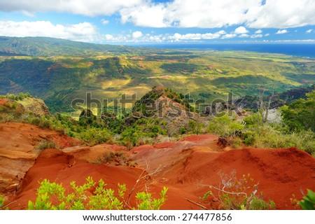 Stunning view into Waimea Canyon, Kauai, Hawaii - stock photo