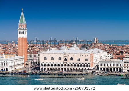 Stunning view of St Mark Square in Venice on a sunny day. - stock photo