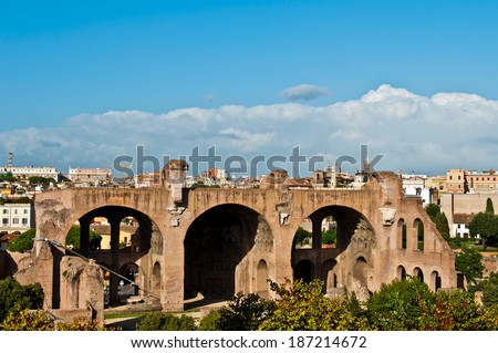 stunning view of The Basilica of Maxentius and Constantine in the Roman Forum in Rome, Italy (picture taken from Palatino Hill)