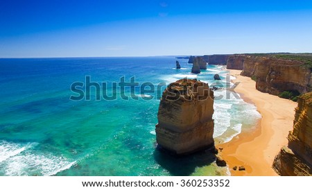 Stunning view of Twelve Apostles from helicopter, Australia. - stock photo