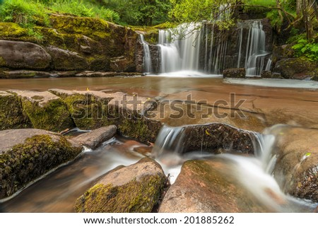 Stunning view of waterfall in Brecon Beacons National Park, Wales. - stock photo