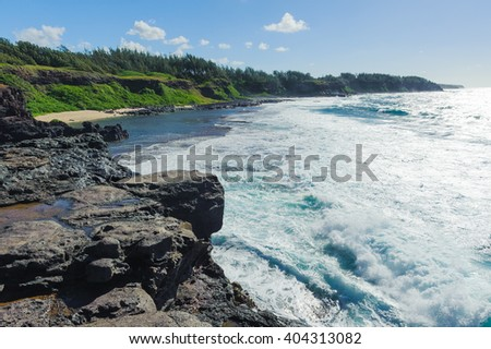 Stunning views from cape Gris Gris . Southern coast of the island of Mauritius - stock photo