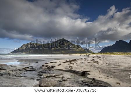 stunning white sand beach in lofoten islands, norway - stock photo