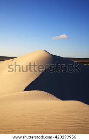 Stunning white sand dune at Eucla, glowing with golden light at sunset. Eucla is the half way point on the Nullarbor Plain, in Western Australia.