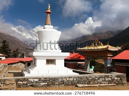 Stupa, Ama Dablam, Lhotse and top of Everest from Tengboche monastery with beautiful sky - Way to Everest base camp, Sagarmatha national park, Khumbu valley, Nepal  - stock photo