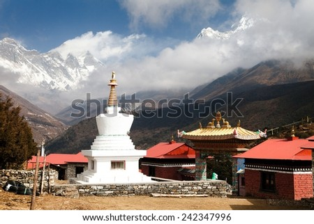 Stupa, Ama Dablam, Lhotse and top of Everest from Tengboche - Way to Everesr base camp - Khumbu valley - Nepal  - stock photo