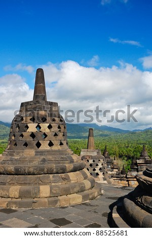 Stupa in Borobudur Temple, Indonesia - stock photo