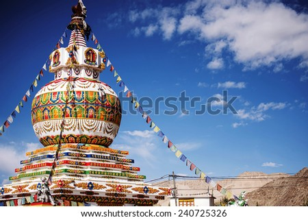 Stupa in Leh city and blue sky Leh Ladakh ,India - September ,2014 - stock photo