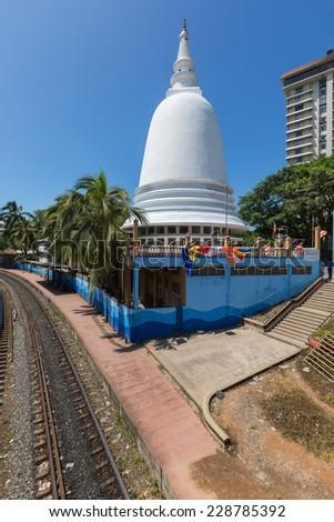 Stupa in the center of Colombo. Sri Lanka - stock photo