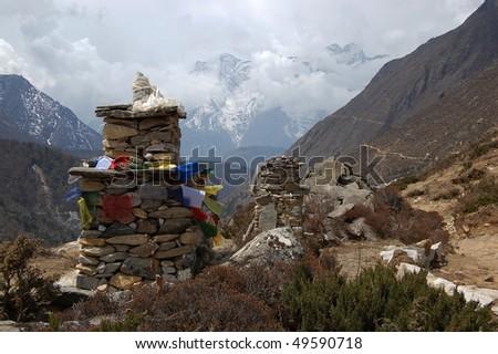 Stupa on Mount Everest base camp trek - stock photo
