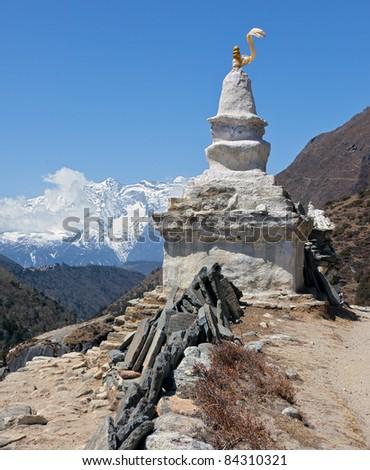 Stupa on the trek to Mt. Everest - Nepal - stock photo
