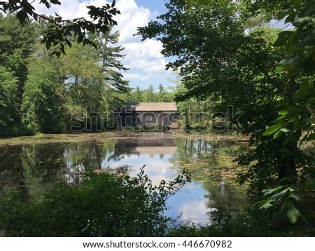 STURBRIDGE, MA - JUN 26: Old Sturbridge Village in Sturbridge, Massachusetts, as seen on Jun 26, 2016. It is a living museum which re-creates life in rural New England during the 1790s through 1830s. - stock photo