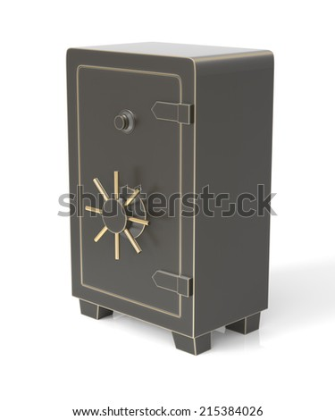 Sturdy looking steel money safe. Isolated on white. High resolution Three Dimensional rendering - stock photo