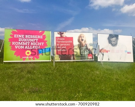Stuttgart - August 22, 2017: Billboards by the major parties for the German Parliamentary Elections - The Green Party, SPD and FDP are present, only CDU is missing.