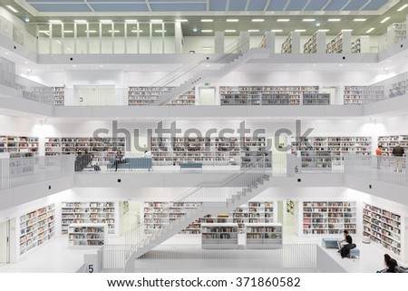 STUTTGART, FEB 2: Public library in Stuttgart. The Library is contained within a perfect white cube placed directly to compass points and was designed by Yi Architects. February 2, 2016. Stuttgart - stock photo